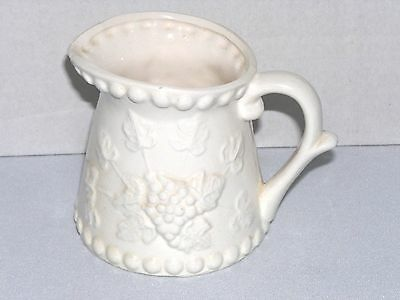 Vintage 1950's NAPCO 1-Cup Ceramic White Embossed Grapes Pitcher Measure Cup
