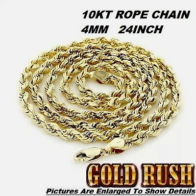 10KT ROPE CHAIN YELLOW GOLD 4MM DIAMOND CUT CHAIN 22INCH *100% REAL GOLD*