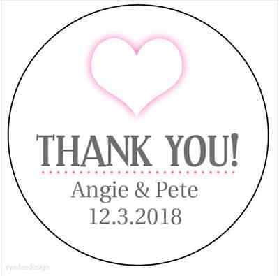35 x Personalised Pink Heart Wedding Thank you Stickers Favour Labels Gloss -196