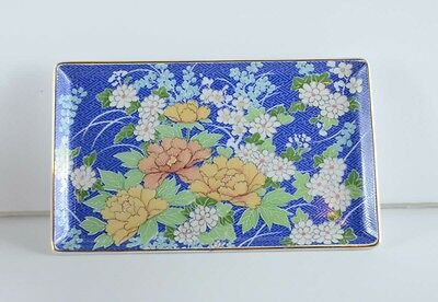 Vintage 1980 Blue Floral Takahashi San Francisco Japan Tray Jewelry Porcelain