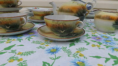 SWAN Scene TAKITO CO JAPAN PORCELAIN CHINA Tea Set  1920-30'S