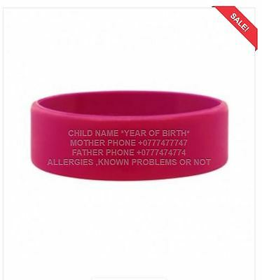 Child Identity Wristband Medical ID Bracelet Waterproof Anti-Allergenic Allergy