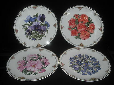 ROYAL ALBERT THE QUEEN MOTHERS FAVOURITE FLOWERS DECORATIVE PLATES X4