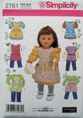 """simplicity 2761 sewing pattern 18"""" girl doll clothes dresses 2008 new"""