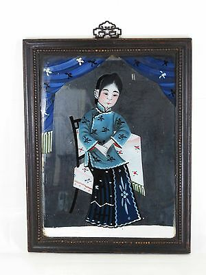 A Chinese Antique Reverse Glass Portrait Hand Painting Of A Women Young Lady