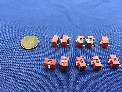 10 pcs Slide Type Switch 2-Bit 2.54mm 2 Position DIP Red Pitch 10x b7