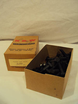 """50 NEW OLD STOCK RBW 1 3/4"""" SQUARE HEAD BLACK BOLTS #16 THREAD, 3/8"""" DIA. IN BOX"""
