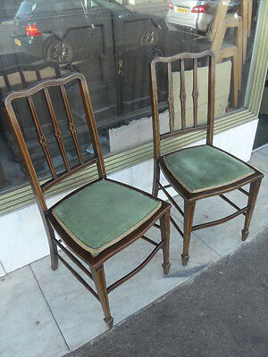 Pair Of Edwardian Antique Beech & Mahogany Inlaid Bedroom Chairs