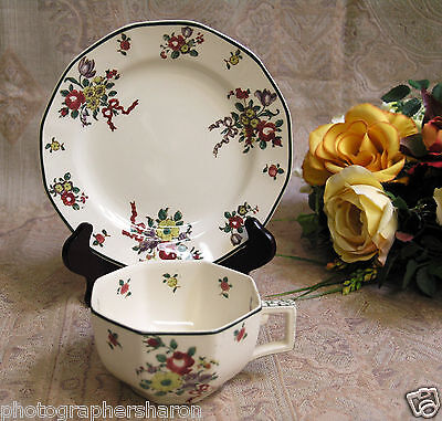 Royal Doulton Old Leeds Sprays D:3545 Rn#:597783 Tea Cup and Accent Plate MINT