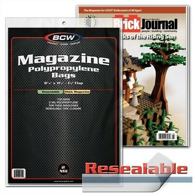 200 BCW THICK Magazine RESEALABLE Clear Poly Bags + Acid Free Backer Boards