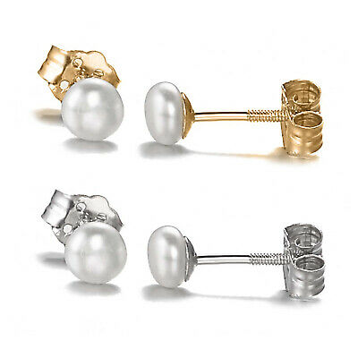 10K Solid Gold Children's 4mm Pearl Screw Back Baby Stud Earrings