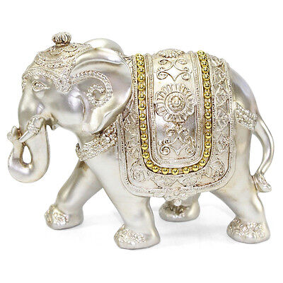"Feng Shui Light Gold 7"" Large Elegant Elephant Trunk Statue Gift Home Decor"