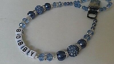 Bling *2 Tone Blue* Shamballa Pearl Crystal Romany Dummy Clip Boy Personalised