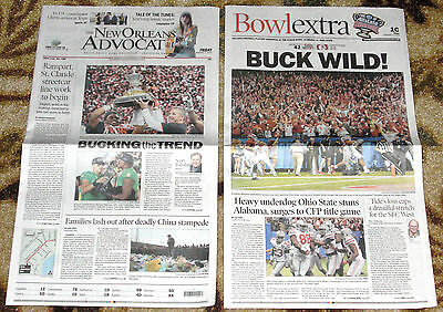 2015 Ohio State v Alabama Sugar Bowl - New Orleans Newspapers 2 dif - NOT Ticket