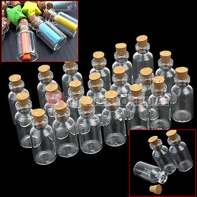 20 Pcs Empty Small Tiny Clear Glass Bottles With Cork Cover 5ml Craft Supply