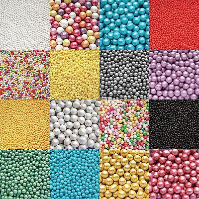 Edible Cupcake Cake Sprinkles Sugar Pearls and Decorations - various colours