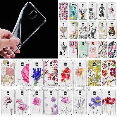 Fashion Cute Clear Animal Flower Soft Case Cover Skin for Samsung Galaxy S4 S5