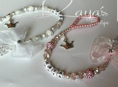 Bling *Princess* Shamballa & Crystal Romany Dummy Clip Personalised Pink White