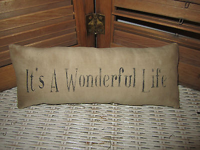 Primitive Stenciled Pillow - It's a Wonderful Life - Thymeless Treasures