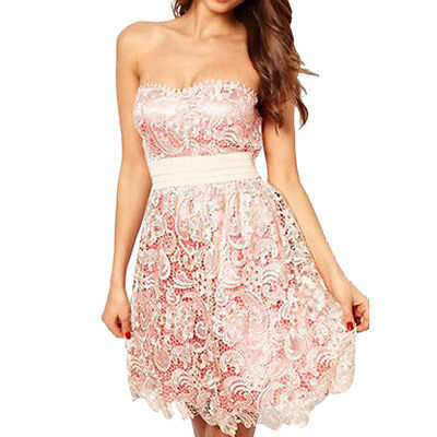 Embroidery Lace Sleeveless Design Back Zipper Skinny Strapless Hollow out Dress