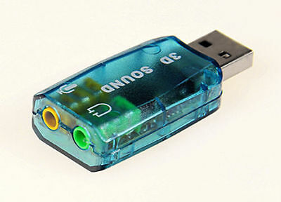 3D Audio Card USB 1.1 Mic/Speaker Adapter Surround Sound 7.1 for Laptop notebook