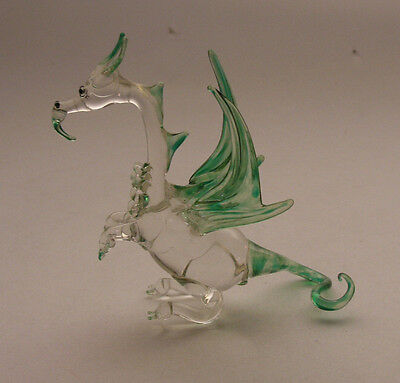 Vintage Hand Blown Glass Dragon Figurine - Clear with Green Wings & Tail