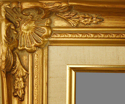 "PICTURE FRAME WOOD GOLD ORNATE LINEN WEDDING PHOTO CANVAS ART 2.75"" WIDE"