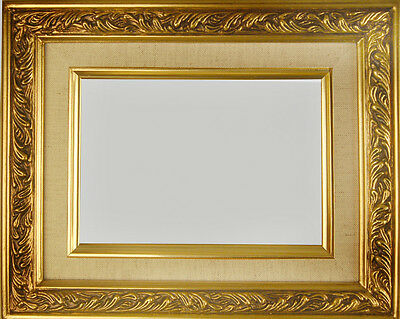 "PICTURE FRAMES WOOD GOLD LINEN LINER ORNATE SWIRL WEDDING ART PHOTO 2 1/4"" WIDE"