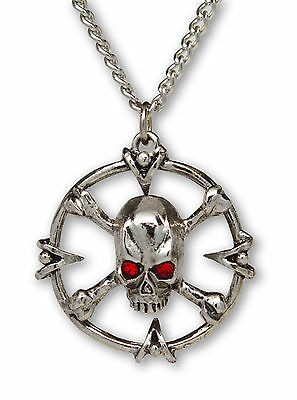 Gothic Skull and Crossbones Set in Circle with Red Stones Pewter Necklace NK-478
