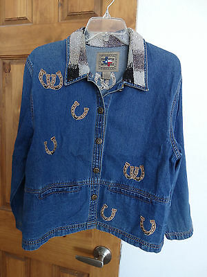 Don't Mess With Texas women's western style horse design denim jacket size S