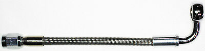 "AN-3   6"" long, stainless steel braid hose, ST X 90ø banjo 3/8""-10M  NC"