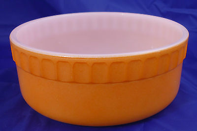 OVENWARE by CROWN RETRO ORANGE & WHITE MILK GLASS BOWL / DISH ROUND