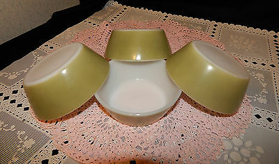 4 Mid-Century Federal Glass Iridescent Green White Interior Soup Cereal Bowls