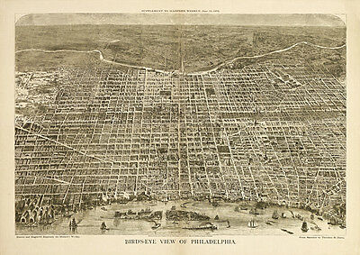 Vintage Birdseye View Philadelphia Pa 1872 Archival Quality Reproduction Print