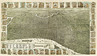 Vintage Philadelphia 1886 Archival Quality Reproduction Print