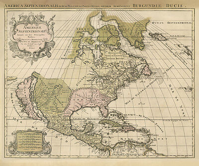 Vintage North America 1694 Map Archival Quality Reproduction Print