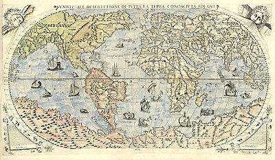 Vintage World Map 1565 Archival Quality Reproduction Print