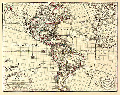 Western Hemisphere Vintage World Map  Archival Quality Reproduction Print