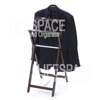 NEW Chocolate Timber Folding Valet Suit Clothes Hanging
