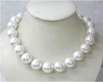 """Huge AAAA 18"""" 16mm Natural Gorgeous white shell pearl necklace"""