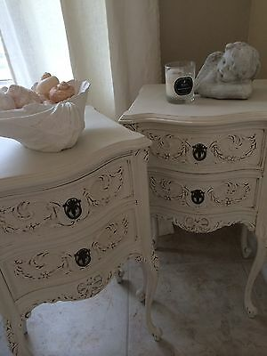 pair of french antique nightstands, solid wood, brass hardware, FABULOUS!!