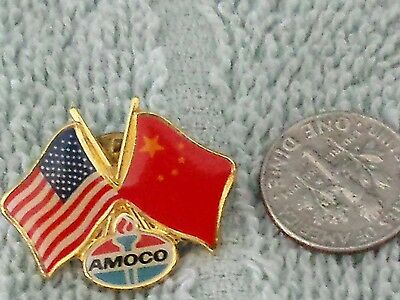 VTG.(RARE)AMOCO OIL; American & Republic of China and Amoco Oil Lapel Pin;