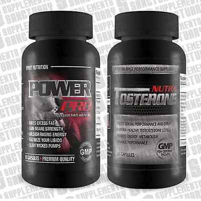Nutra Tosterone 60 capsules & Power Pro 90 capsules, Bodybuilding/toning Stack