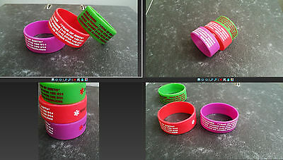 Child Kid Safety WristBand Medical ID Bracelet trip Lost diabetes asthma Autism