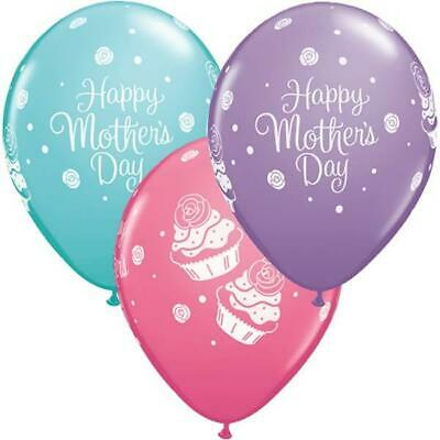 """Happy Mothers Day Cupcakes 11"""" Qualatex Latex Balloons x 10"""