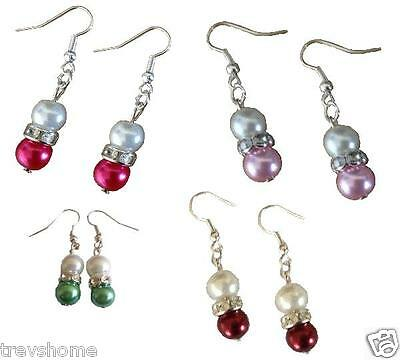 Silver Plated Crystal Glass Pearl Bead Drop Earrings Red Blue Black Pink White