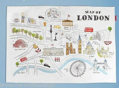 Alice Tait Map Of London Tea Towel with Iconic London Landmarks Big Ben Tower