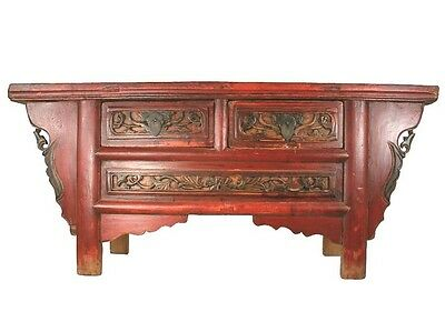 A Chinese Antique Red Color Painting 39.8-inch Long Coffee Tea Table / TV Stand