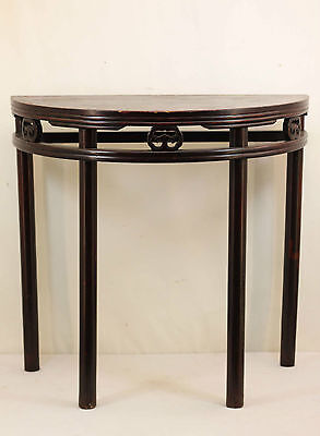 A Chinese Antique Dark Color Hardwood Half Table( Semi-circle ) Tall Long legs