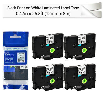 4PK 12mm*8m For Brother P-TOUCH PT-1100 TZ-231 TZe-231 Black on White Label tape